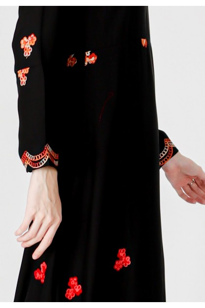 Azzar Zel Maxi Dress In Black With Orange Blue Embroidery