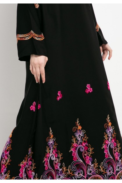 Azzar Zel Maxi Dress In Black With Pink Purple Embroidery