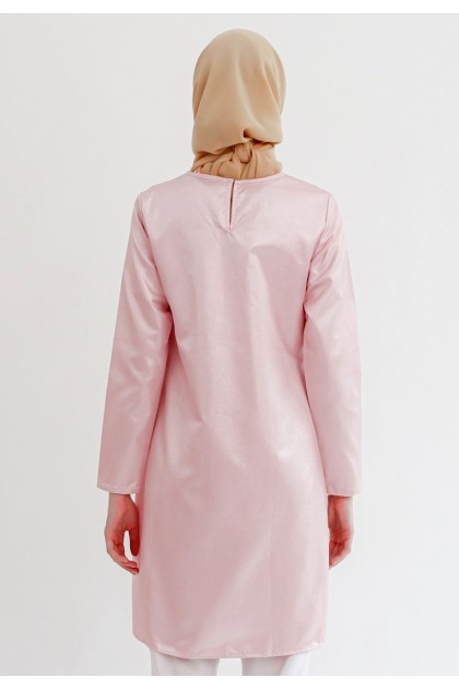 Azzar Ziva Asymmetrical Blouse In Pink Glitter