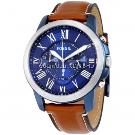FOSSIL FS5151 Grant Blue Dial Chronograph Leather Men's Watch