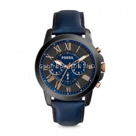 FOSSIL FS5061 Grant Chronograph Navy Leather Watch