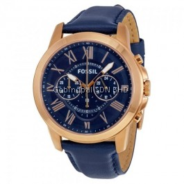 Fossil FS4835IE Grant Chronograph Navy Leather Watch