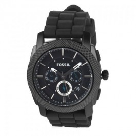 Fossil FS4487 Machine Chronograph Black Stainless Steel with Silicone Band Men's Watch