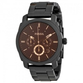 Fossil FS4682 Machine Mid-Size Chronograph Black Stainless Steel Men's Watch