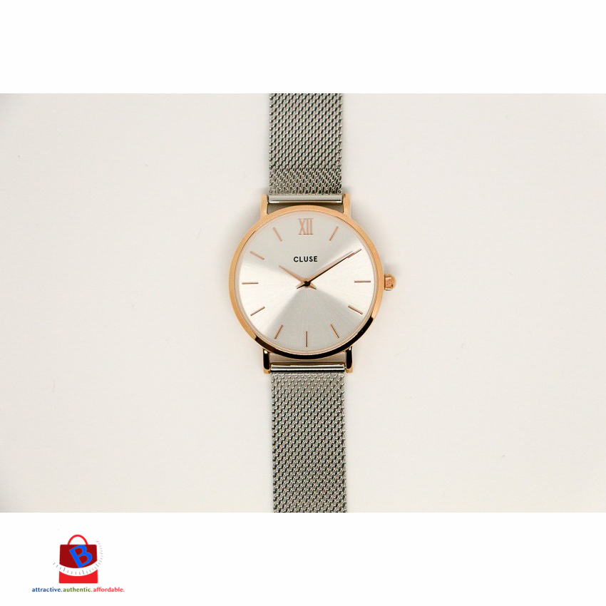CL30025 Cluse Minuit Mesh Rose Gold/Silver Ladies Watch