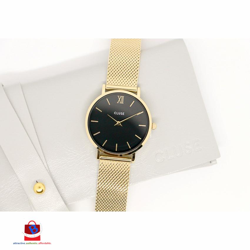 CL30012 Cluse Minuit Mesh Gold Black Ladies Watch