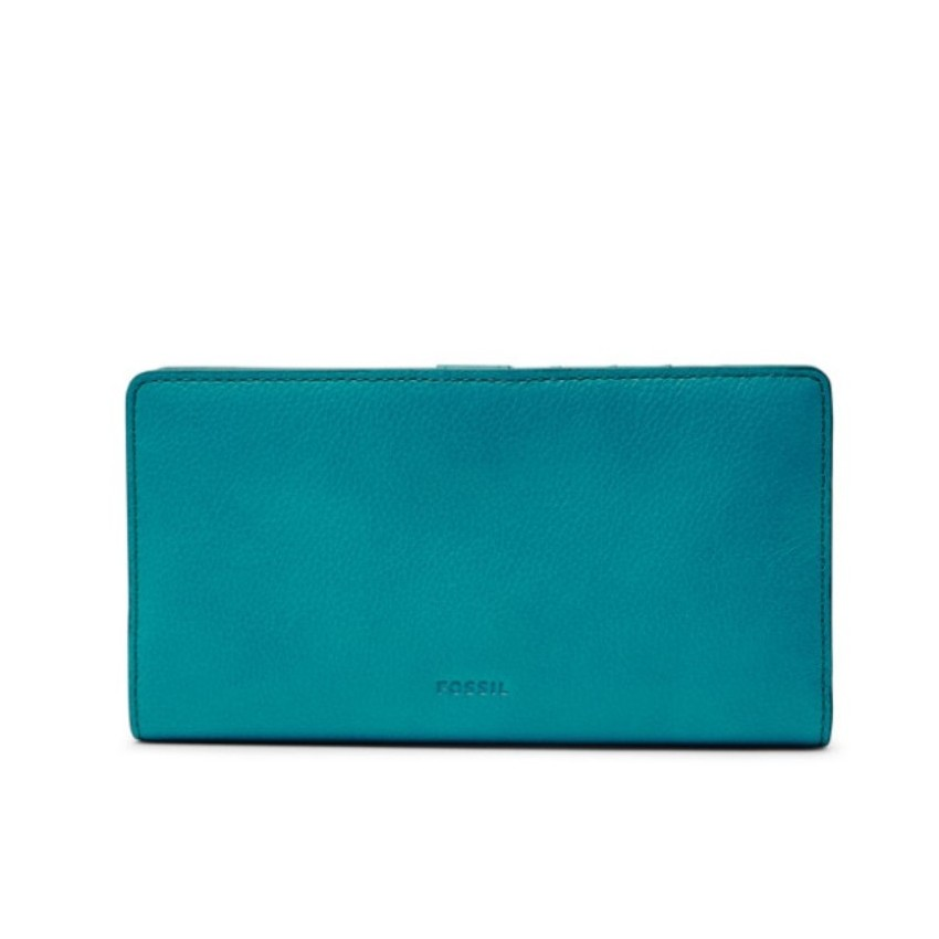 Fossil Caroline RFID Slim Bifold Wallet Peacock SL7353689