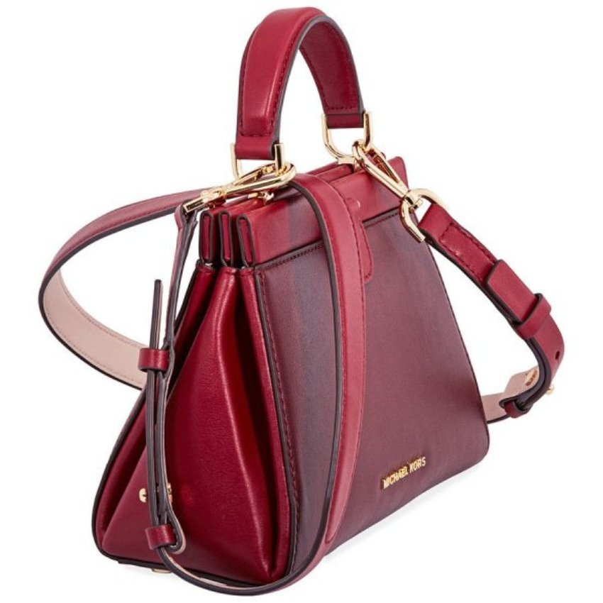 a842a3dfc647f5 MICHAEL Michael Kors Gramercy Frame Top Handle Color-Block Leather Satchel  Bag, Oxblood Soft Pink Maroon-30F8GZ6S1T-921
