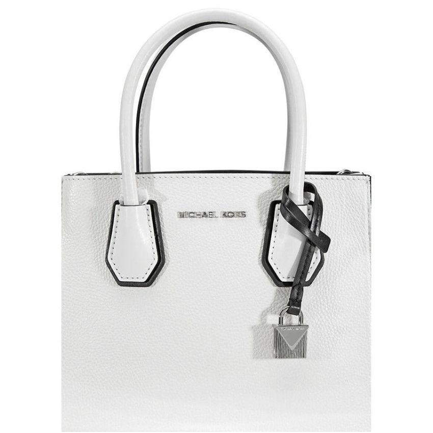 6b5097f695 Michael Kors Mercer Pebbled Leather Messenger Bag - White / Black  30H8SM9M3T-089