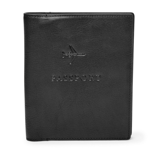 Fossil Passport Case Leather RFID Wallet Black MLG0358001