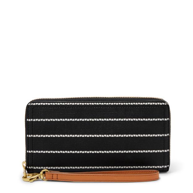 Fossil Logan Rfid Zip Around Clutch Wallet Black/White SL7828005
