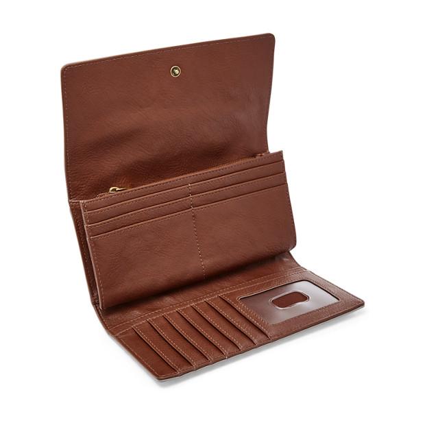 Fossil Logan Rfid Flap Clutch Wallet Hearts SL7832745