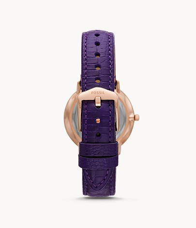 Fossil ES4727 Prismatic Galaxy Three-Hand Purple Leather Watch