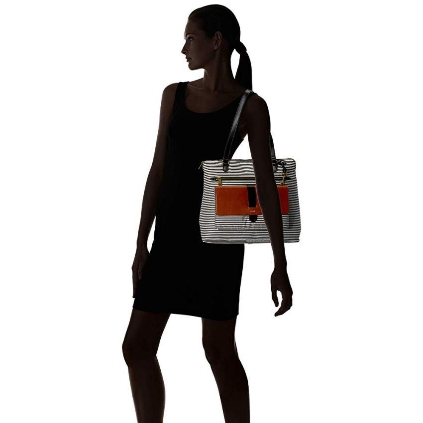 Fossil Women's Kinley Shopper Black White Stripe ZB7895080