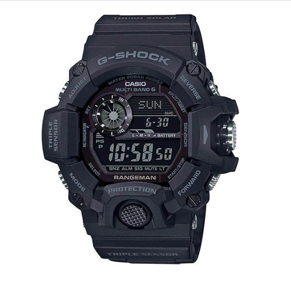 (EURO SET) Casio G-Shock GW-9400-1BER Rangeman All Black/Blackout Watch GW-9400-1BR / GW-9400-1B / GW9400