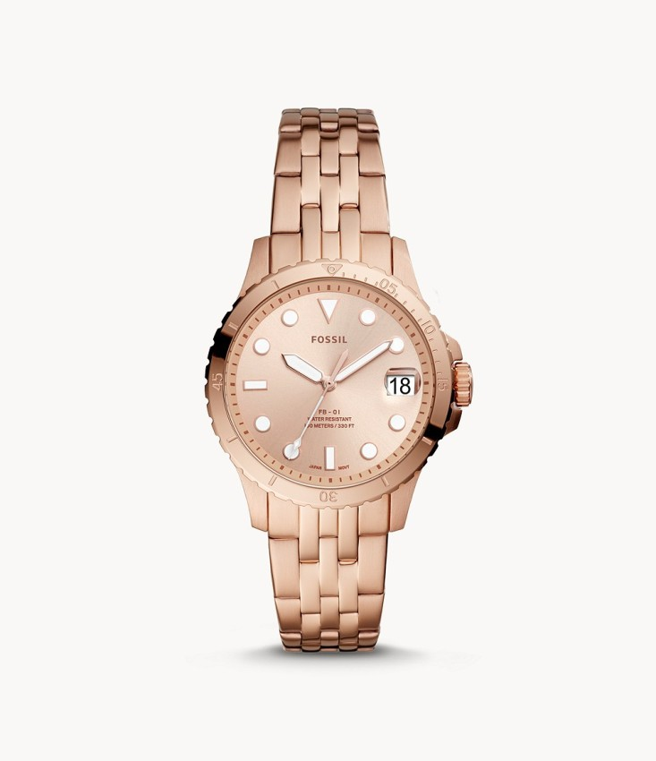 Fossil Women\'s ES4748 Three-Hand Date Rose Gold-Tone Stainless Steel Watch